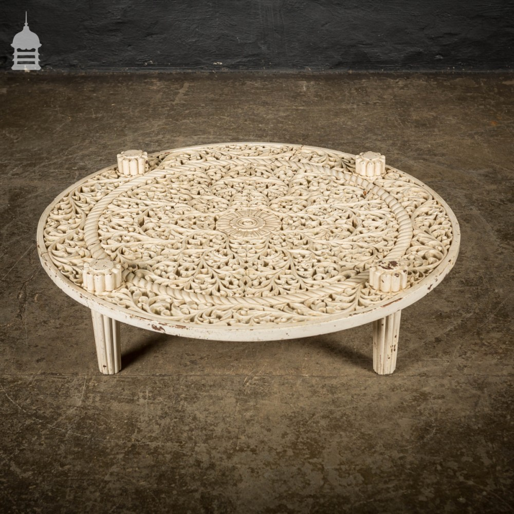 19th C Low Anglo Indian White Painted Carved Hardwood Coffee Table