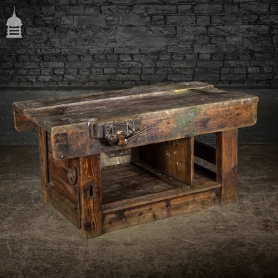 Small Heavy Duty Industrial Workbench with Vices and Paint Splatter