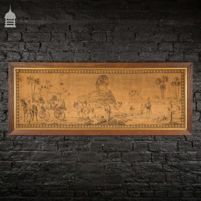 1920s Tapestry of Egyptian Scene with Sphinx and Pyramids of Giza