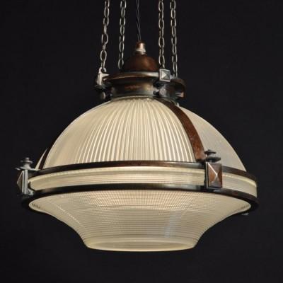 large antique  holophane hanging lamp