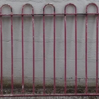 Wrought iron railings.