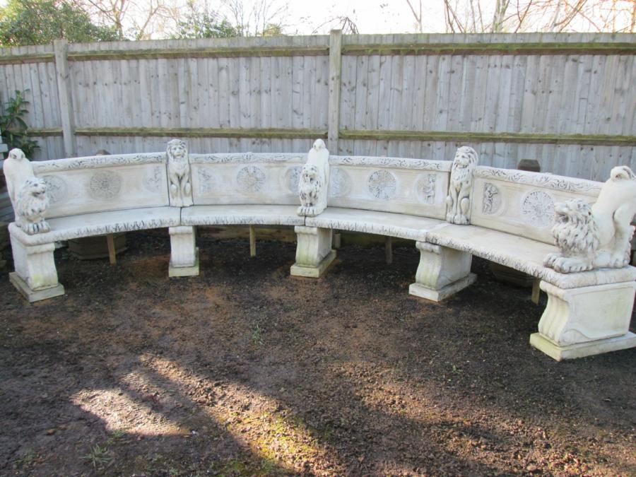 Reclaimed Impressive Curved Stone Garden Bench with Lions