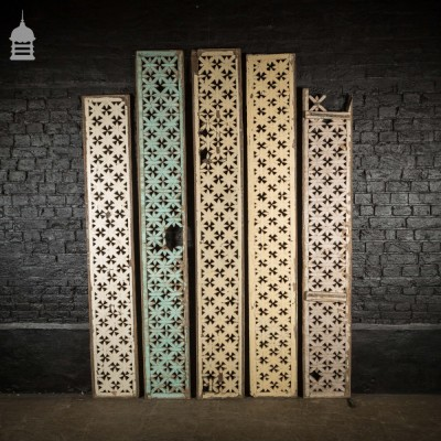 Set of Five 19th C Painted Lattice Panels Screens with Distressed Paint Finish