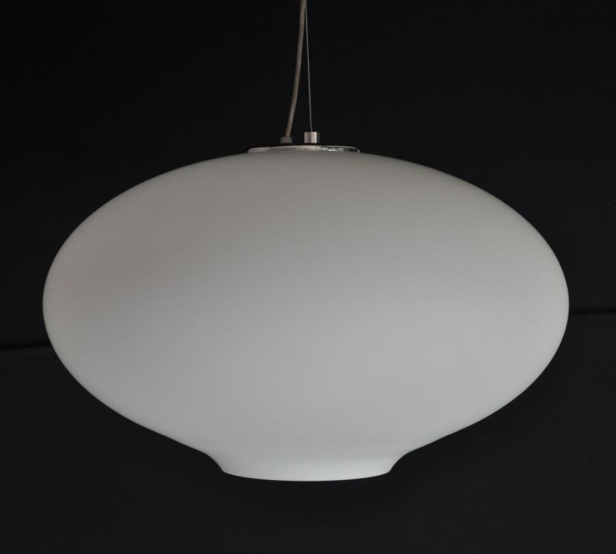 For Sale Large Italian Handblown Opal Glass Pendant Lights