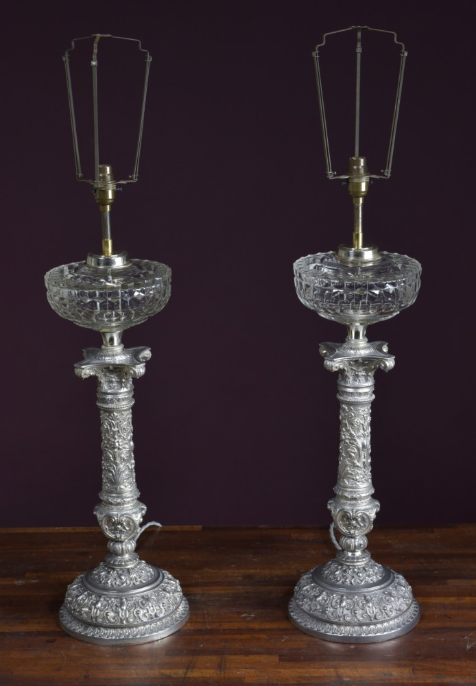Pair Antique Oil Lamps - Silver Plated