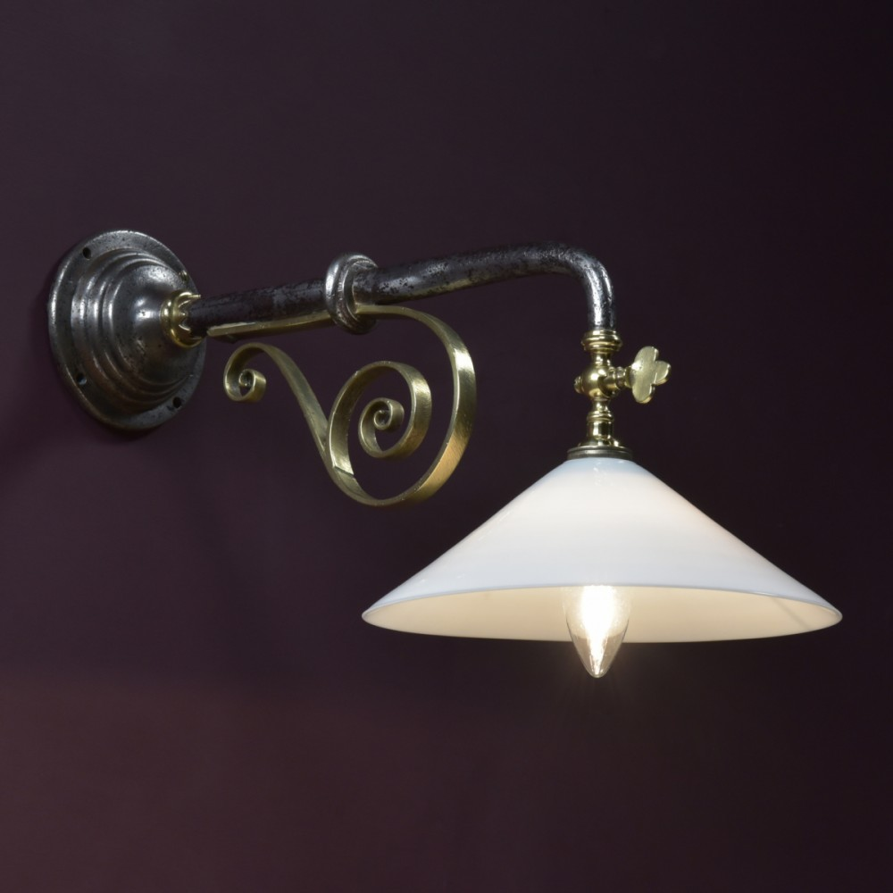 Iron & Brass Gas Wall Light, 19th Century.