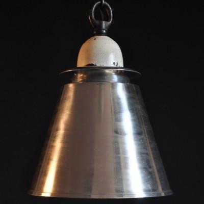 1940s antique industrial conical pendant lamps