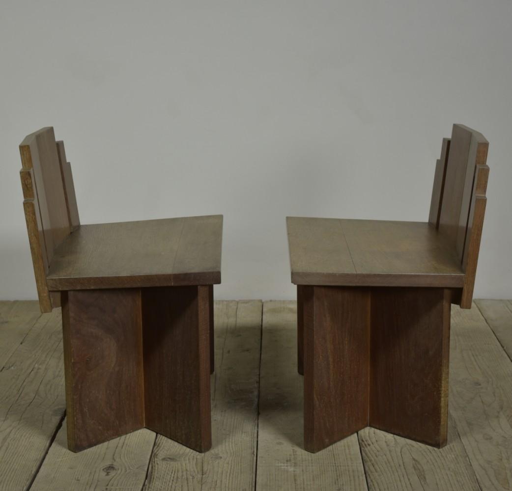 Pair Oak Church Chairs - 1950s.