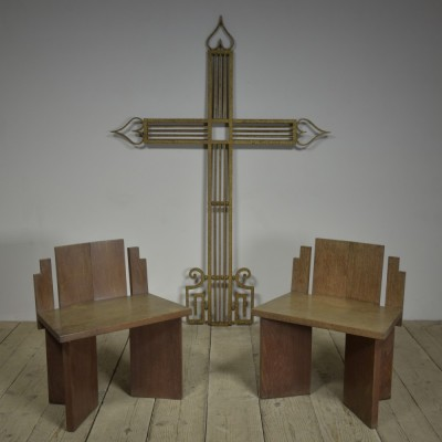 Pair Oak Church Chairs - 1950s.