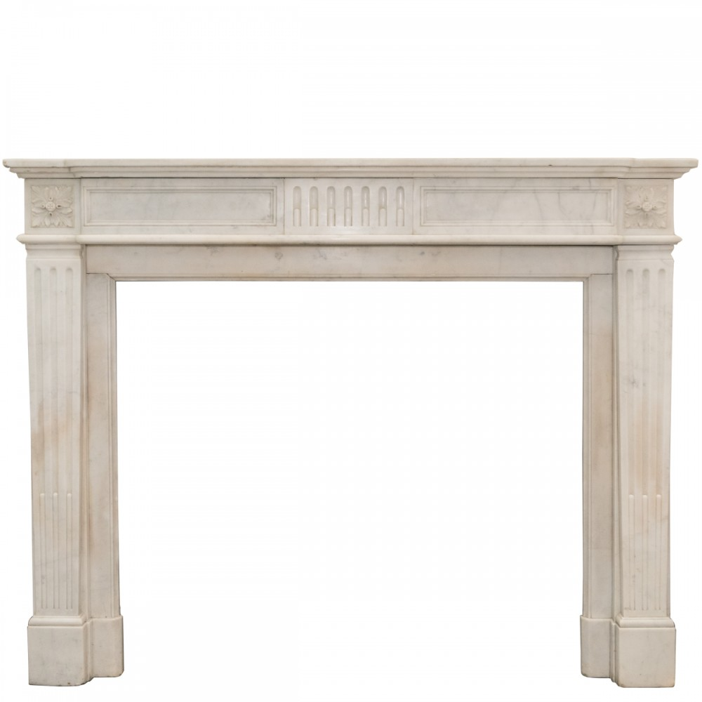 Antique Carrara Marble Louis XVI Style Fireplace Surround