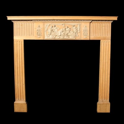 C. 1900 Georgian style pine and gesso fire surround