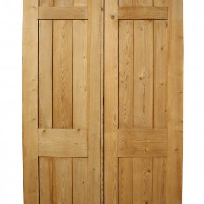 A pair of stripped pine double doors