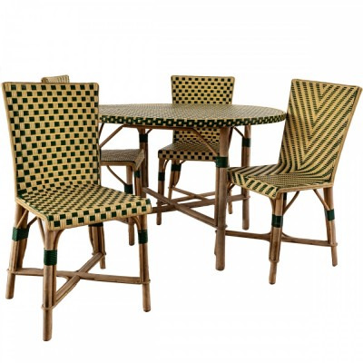 Reclaimed mid-century French rattan table & chairs