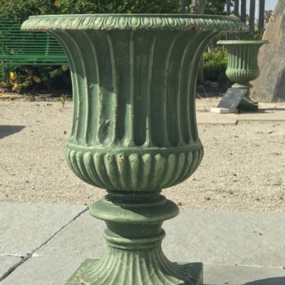 Pair of cast iron vases – Greek urn style