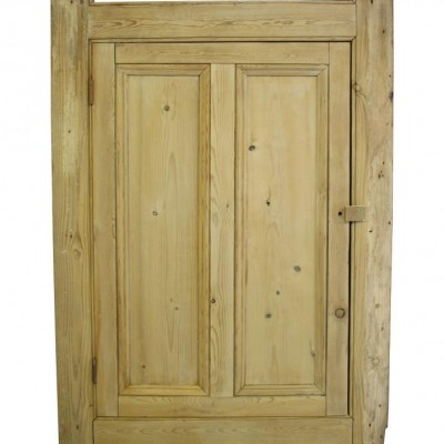 Antique stripped pine cupboard door with frame