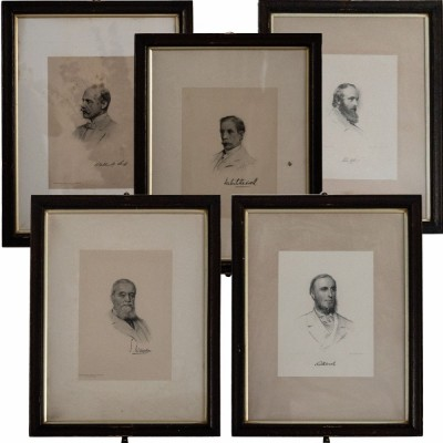 Victorian framed portrait prints of the Grillions club