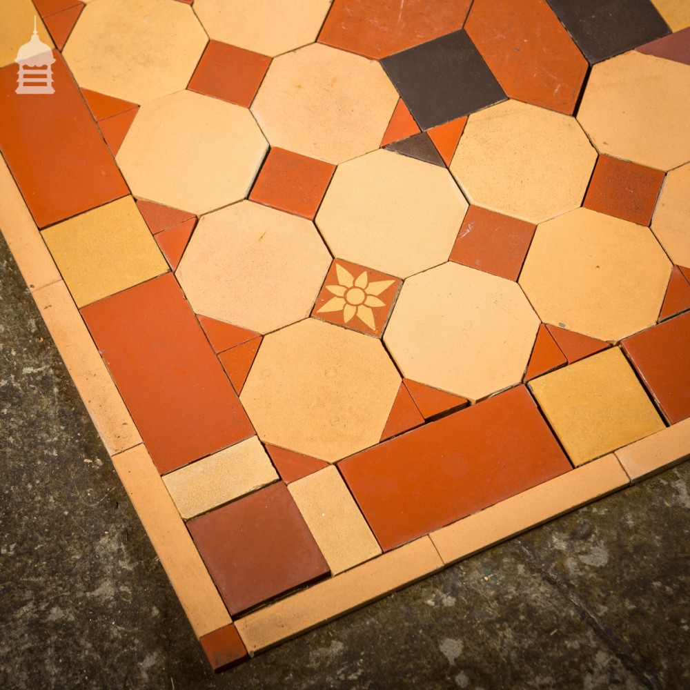 Early 1900's Minton and Hollins Quarry Tile Decorative Floor Mosaic Centre  Piece 6ft x 6ft