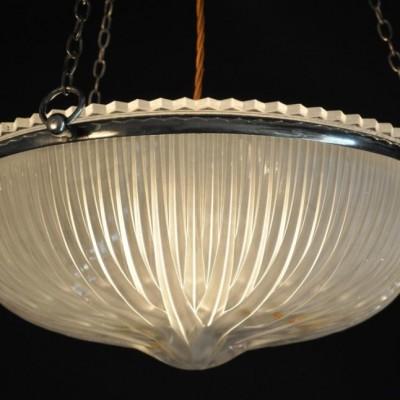 large antique holophane  shade pendant light chandelier