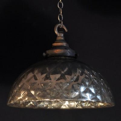 set of rare mirrored antique pendant lights shades
