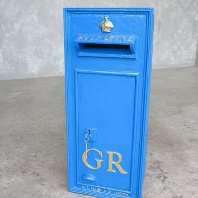 RARE Antique Wall Mounted GR Post Box  WITH REAR DOOR - Painted Blue