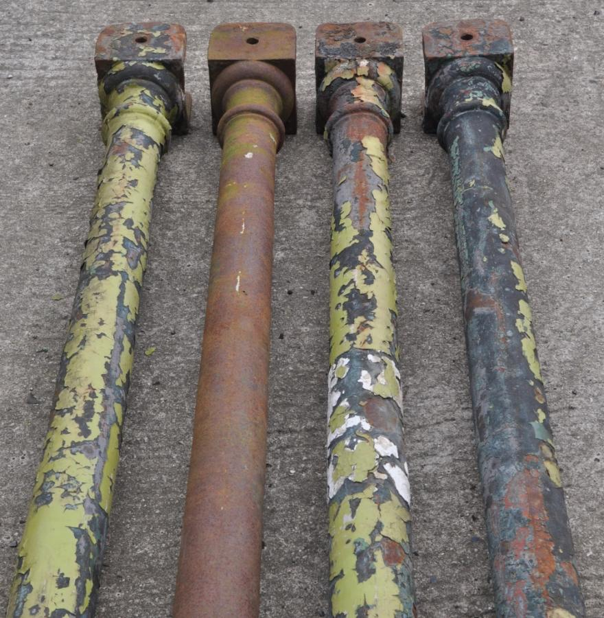 one dozen antique 19th century cast iron columns - 4 remaining