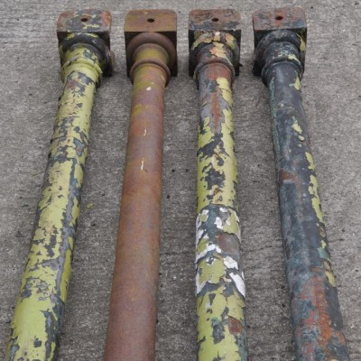 one dozen antique 19th century cast iron columns - 4 remaining