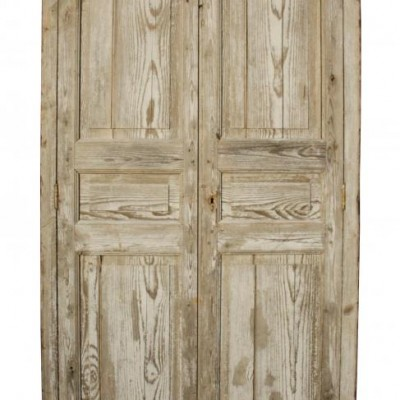 A rustic painted antique French cupboard front / cupboard doors