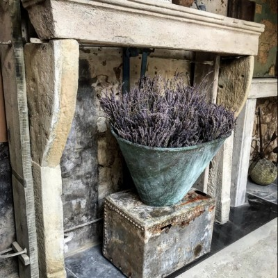 Antique French Stone Farmhouse Stone Fireplace