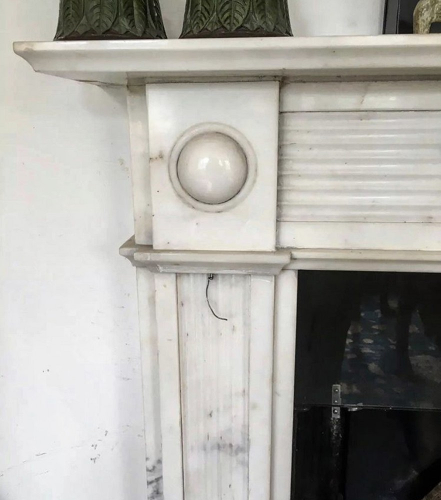 Antique English Regency Statuary Marble Fireplace