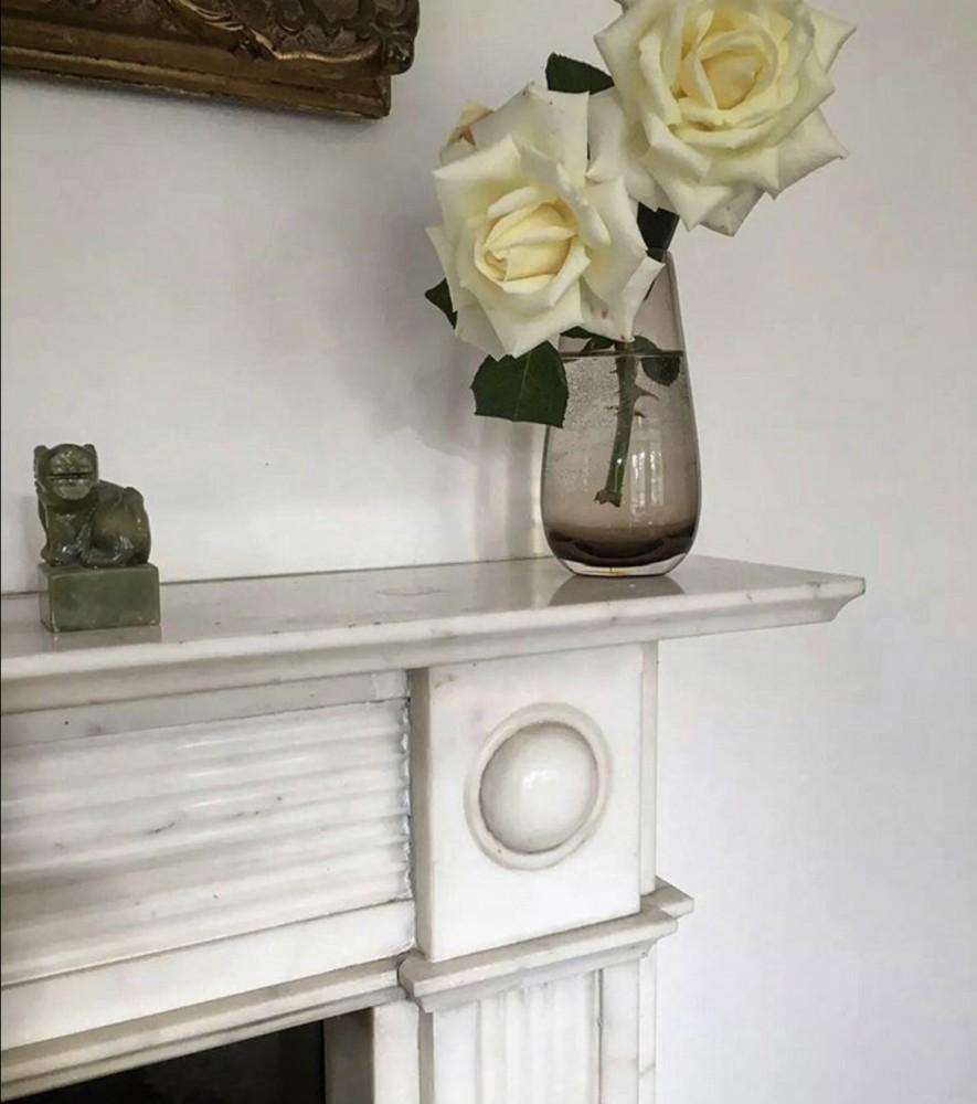 Antique English Regency Statuary Marble Fireplace