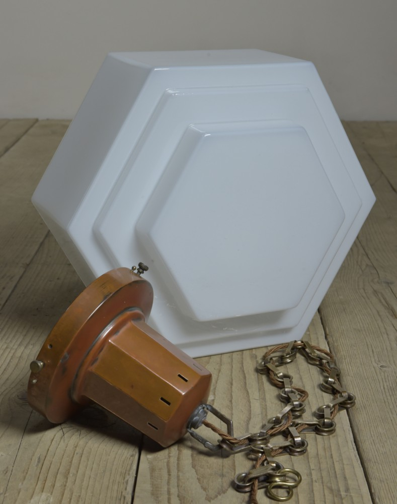 Art Deco Hexagonal Opaline Pendant