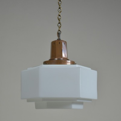 Art Deco Hexagonal Opaline Pendant