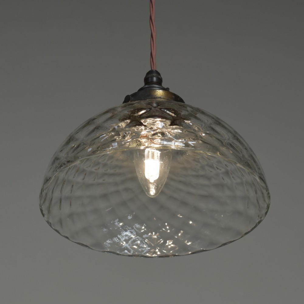 Quilted Silvered Pendant - Clear