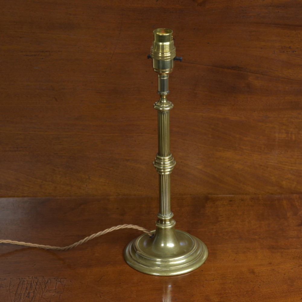 Reeded Brass Table Lamp