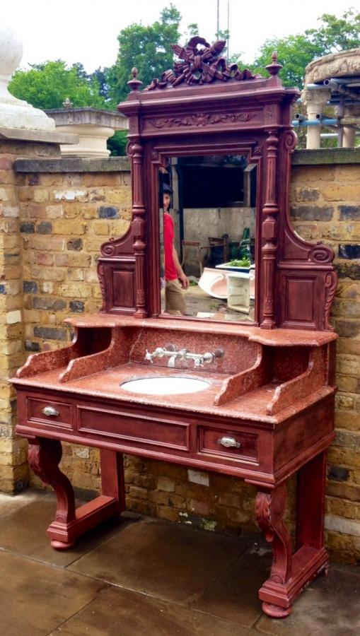 Antique Royal Rouge Marble Top Wash Basin