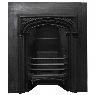 Antique Victorian Gothic Revival Cast Iron Fireplace Insert
