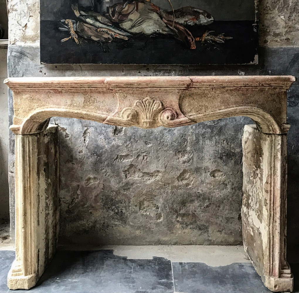 Antique French Stone Fireplace With Amazing Patina