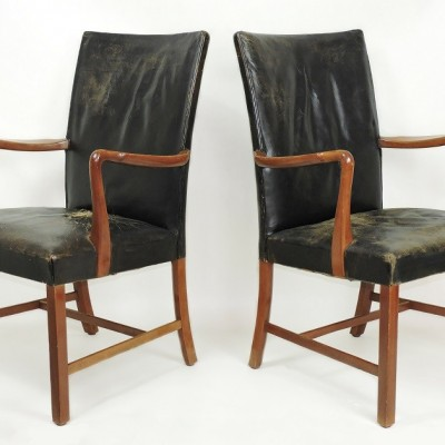 Pair of 1930s / 40s Danish armchairs attributed to Jacob Kjaer. Chair Leather Denmark