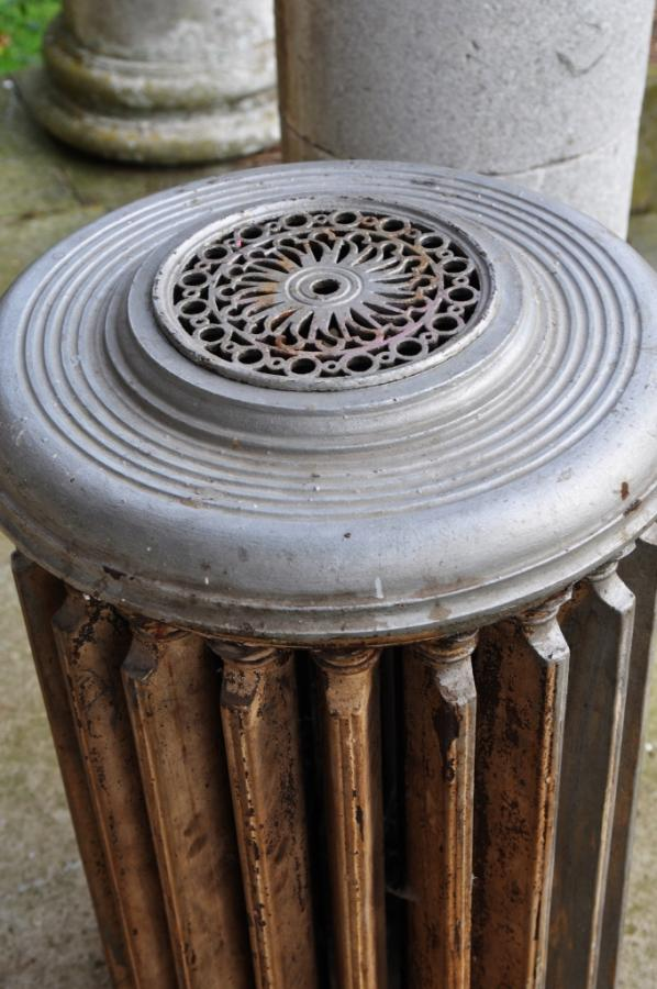 rare circular antique cast iron radiator