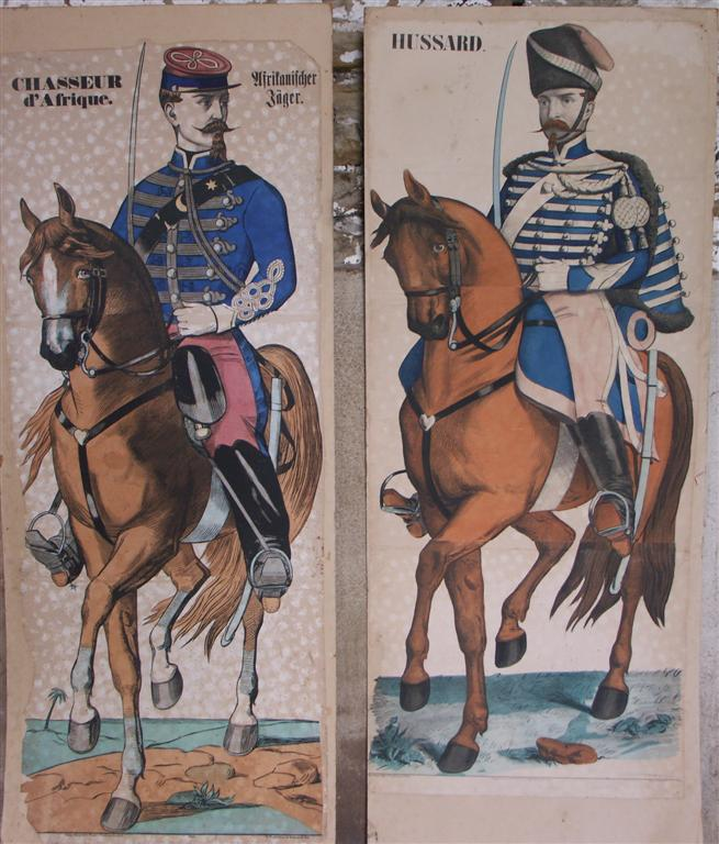 large pair antique original cavalry prints
