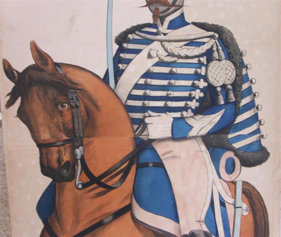 large pair antique original cavalry prints