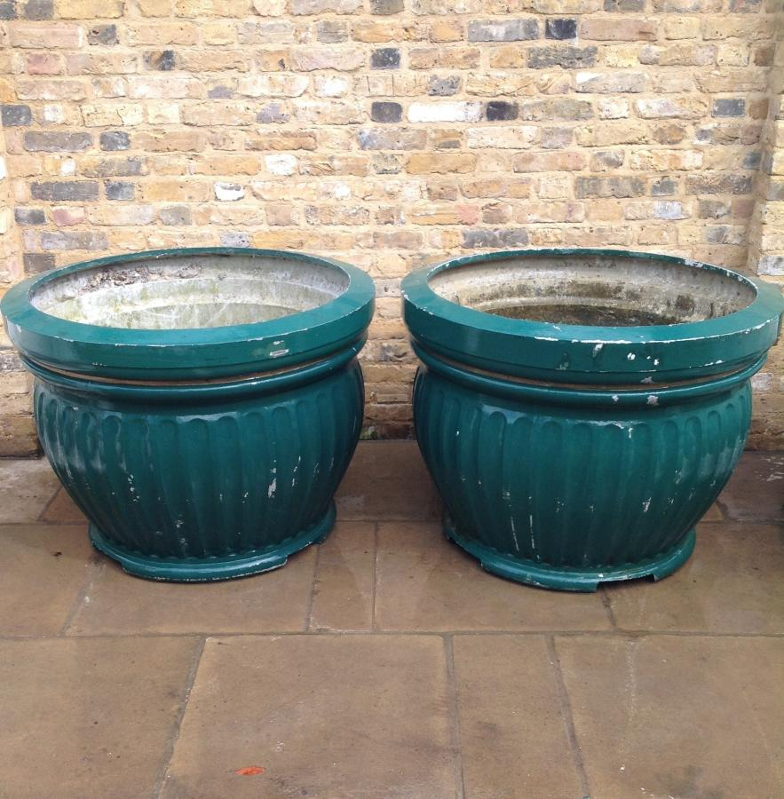 A Pair Of Fluted Edged Reclaimed MetalPlanters