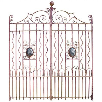 A Pair Of Imposing Antique Wrought Iron Gates