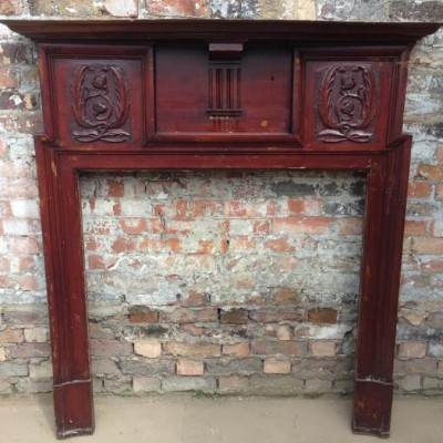 Antique Edwardian Wooden Fireplace Surround