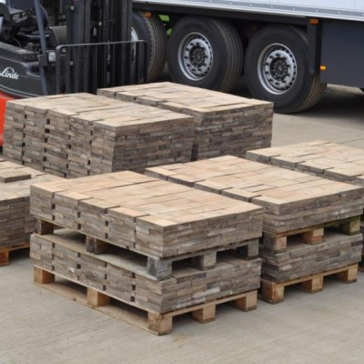 Reclaimed Douglas Fir Wooden Church Floor Tiles. 79 square metre