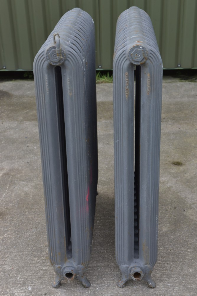 Rare Pair Fluted Antique Cast Iron Radiators