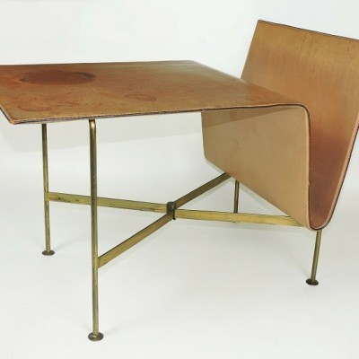 Stitched leather and brass magazine rack table. Mid century Aubock style