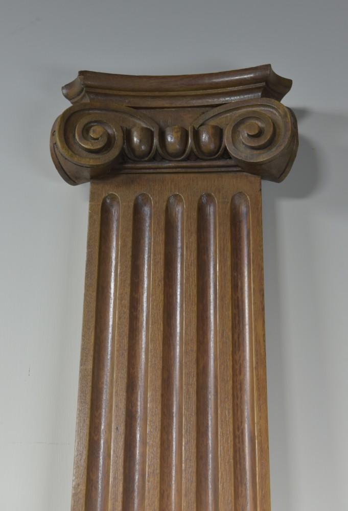 Pair Oak Ionic Columns / Pilasters