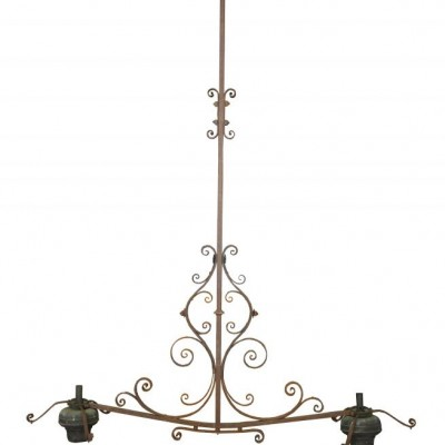 A Mid 19thC wrought iron chandelier