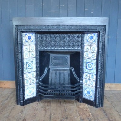 Cast Iron Fireplace with Blue and White Minton Tiles